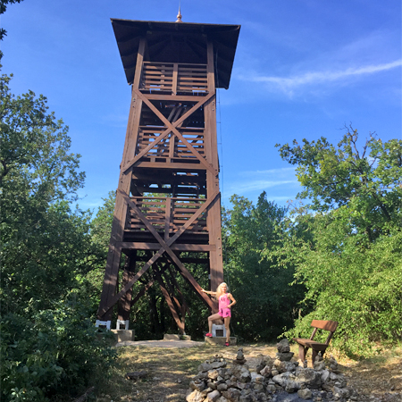 Edina Kinga Agoston at Jokai Lookout Tower on Tom Hill in Balatonfured, Hungary