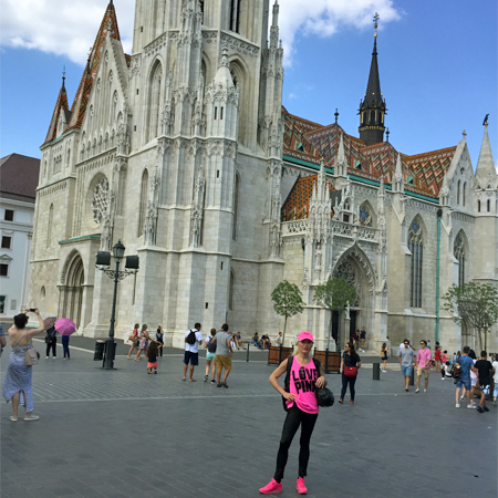 Edina Kinga Agoston at the famous Matthias Church atop the Buda Castle Hill in Budapest, Hungary