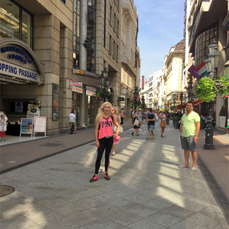 Edina Kinga Agoston at the Vaci Street in Budapest, Hungary