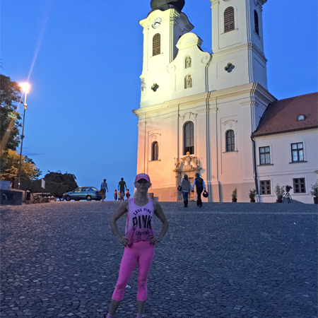 Edina Kinga Agoston at Tihany Abbey Benedictine Monastery in Tihany, Hungary