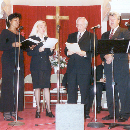 Edina Kinga Agoston performing with The Island Singers